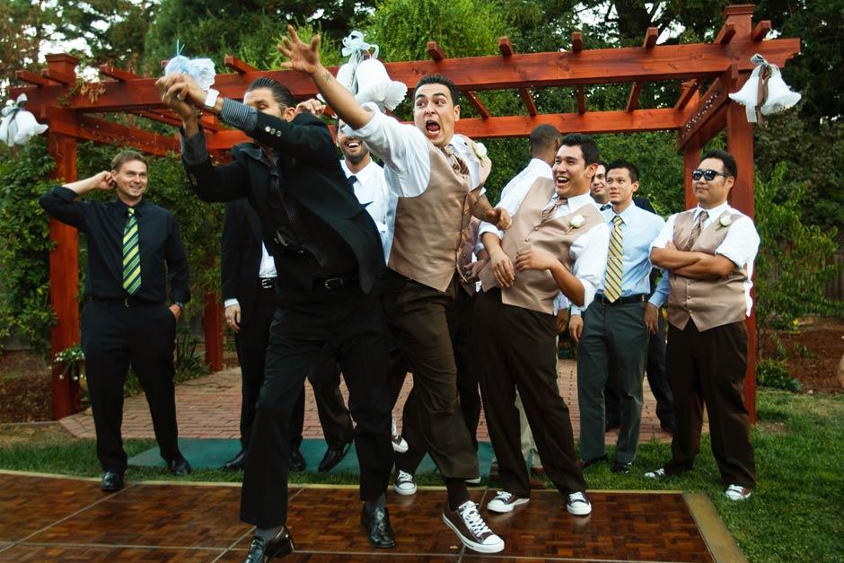 backyard wedding bouquet toss