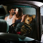 classic car engagement photo