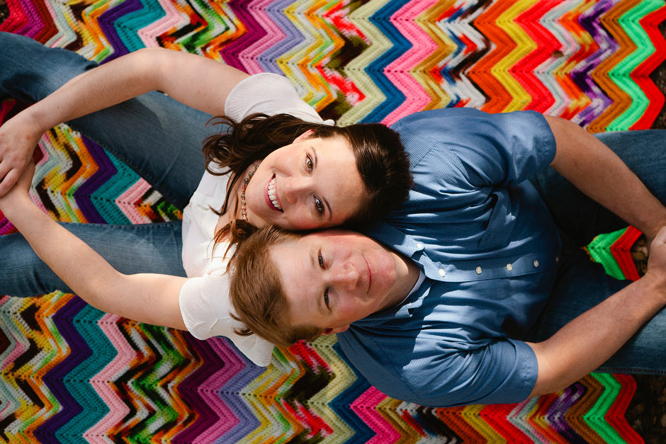 colorful blanket engagement photo