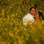 field of flowers engagement