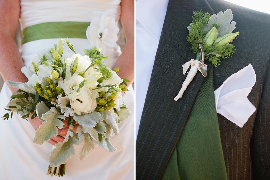 green wedding accents