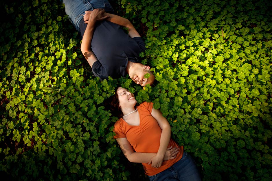 lying in clover engagement photo