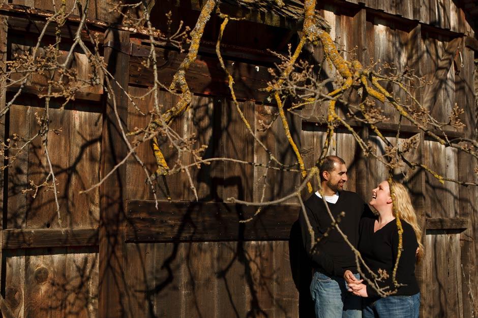 rustic barn engagement photo