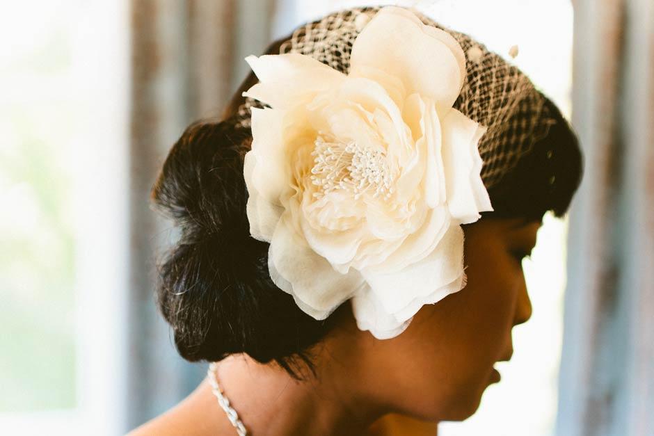 wedding hairpiece detail