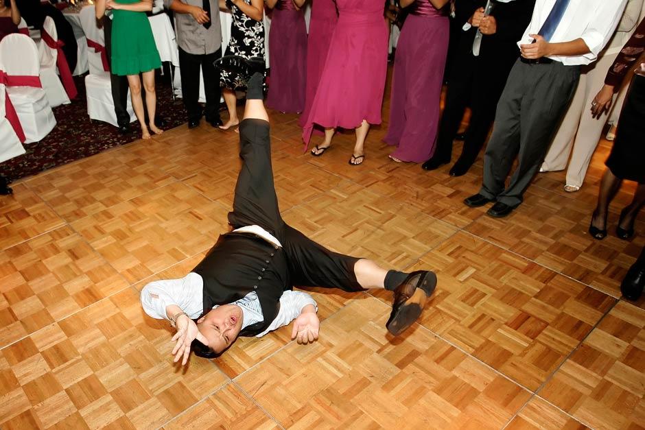 wedding reception breakdancer