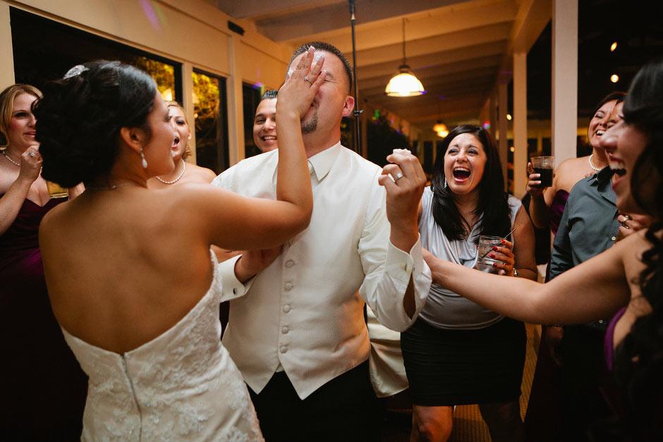 wedding cake smashed in face