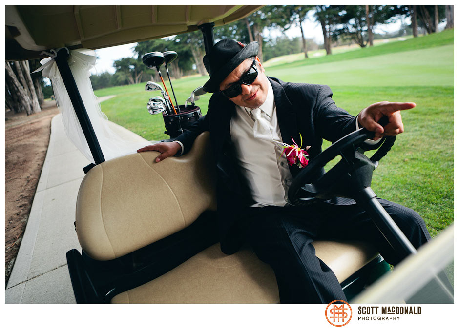 groom in a golf cart